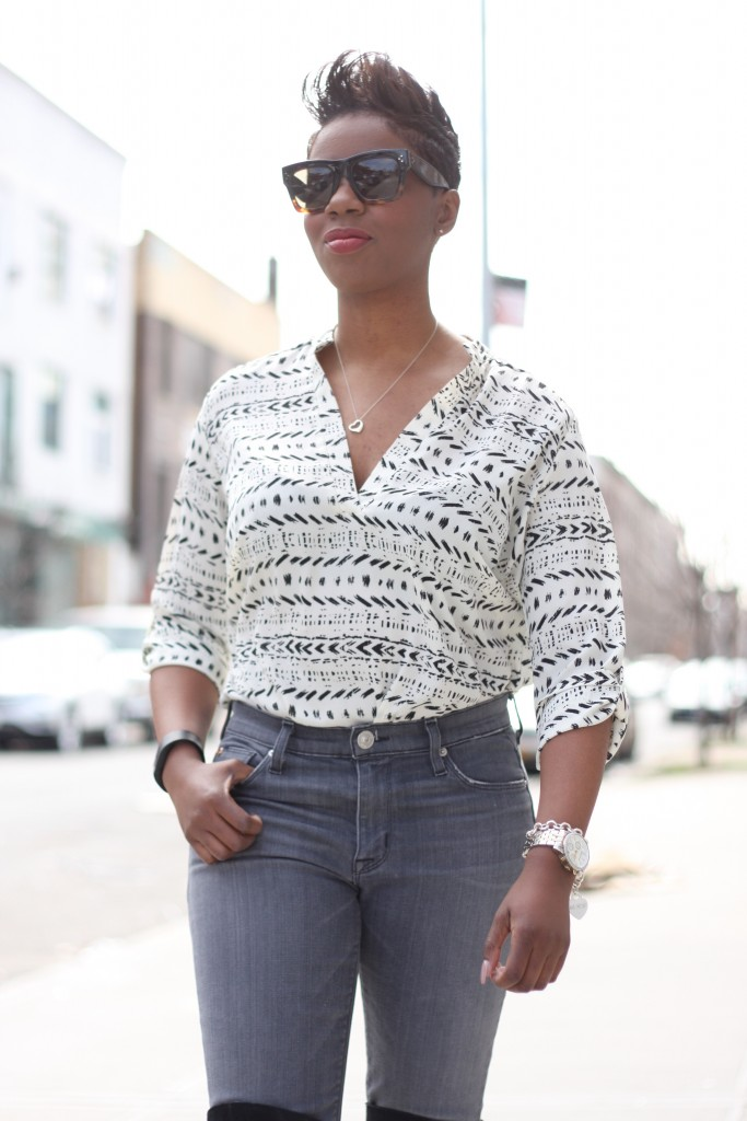 printed tunic grey jeans tuck
