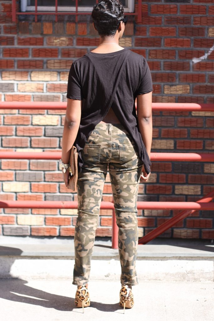 black open back shirt camo pants leopard pumps oversized clutch full look rear