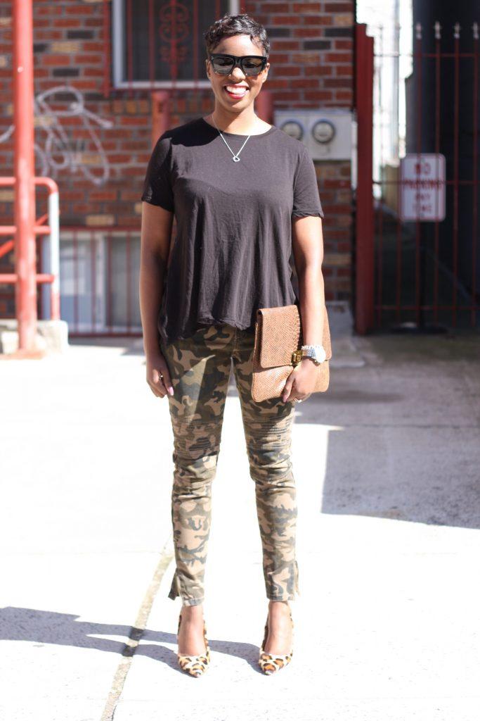 black open back shirt camo pants leopard pumps oversized clutch full look