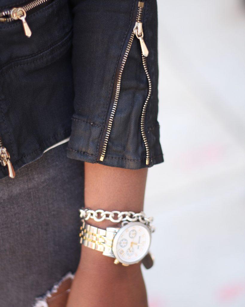 black moto jacket accessories detail