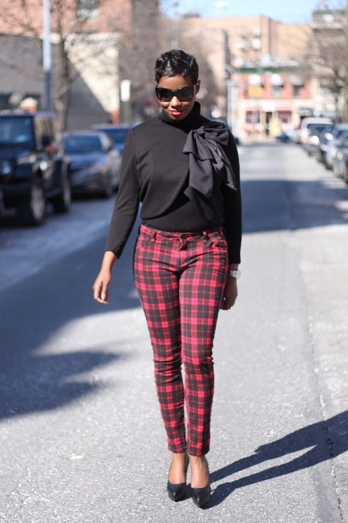 bow jacket plaid pants black pumps 2016 spring style