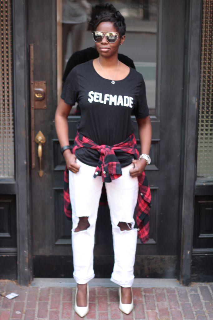 graphic tee plaid shirt boyfriend jeans white pumps spring NYC fashion doorway