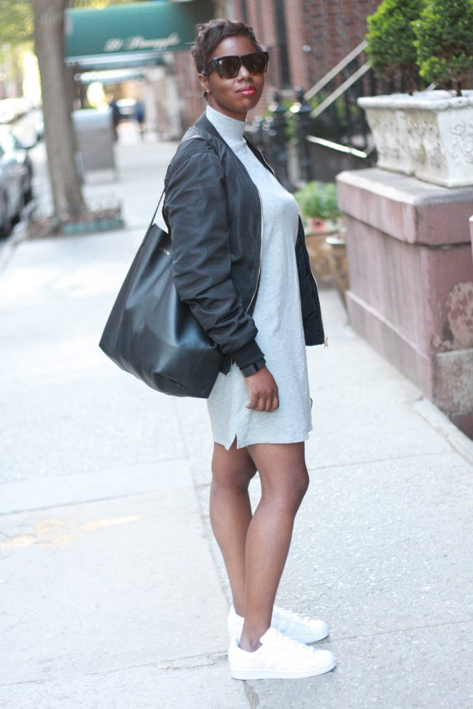 bomber jacket sweater dress white sneakers tote bag spring fashion NYC style blogger