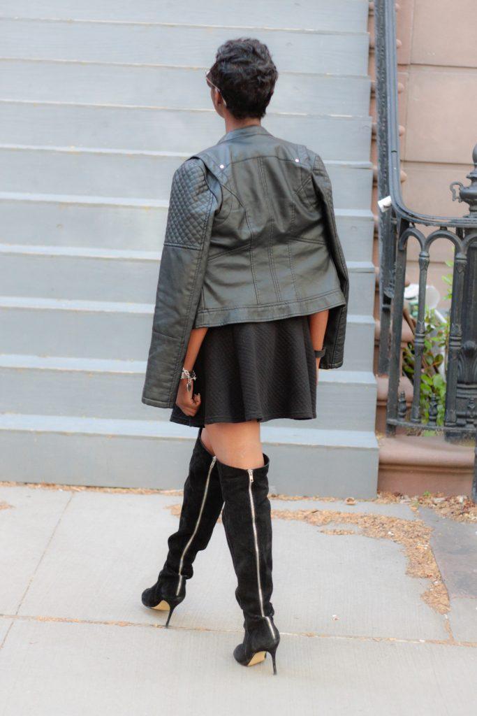 leather jacket black miniskirt OTK boots detail spring 2016 style