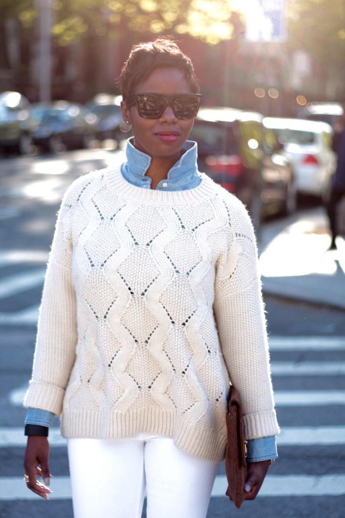 chambray shirt cream sweater spring 2016 detail