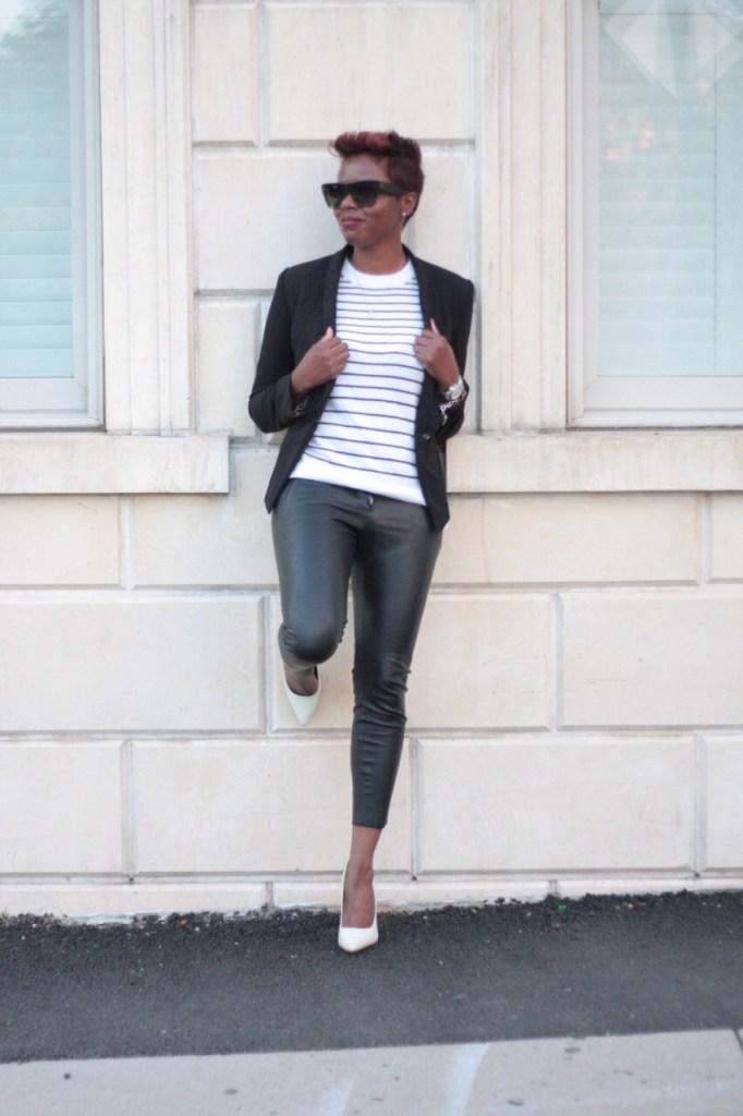 the white rose leather pants striped shirt black blazer white pumps fashion