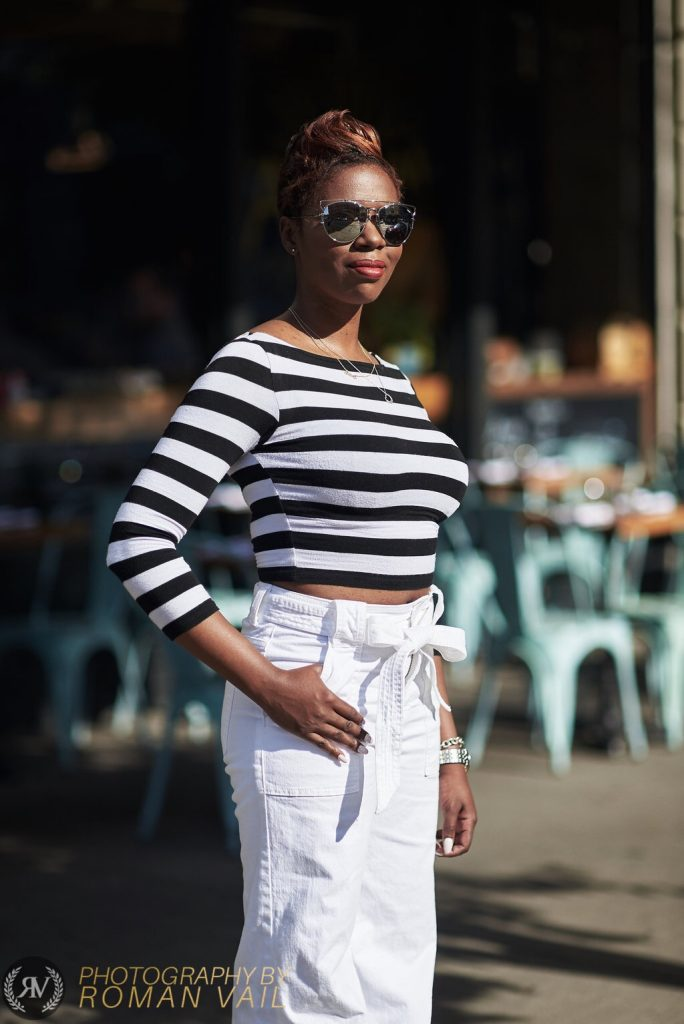 breton stripes crop top white flare jeans NYC style