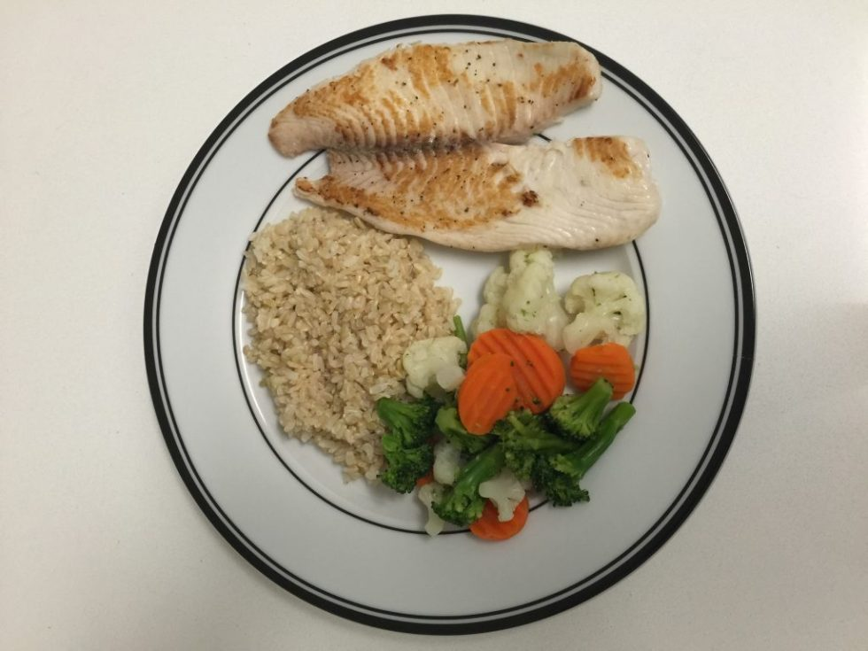 eating clean tilapia brown rice vegetables healthy lifestyle