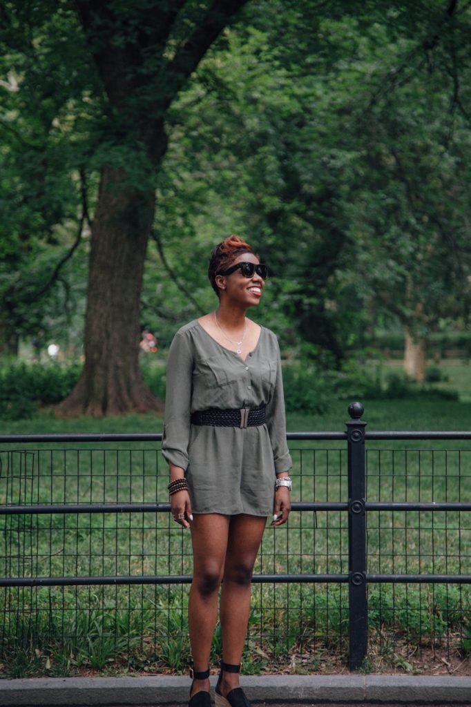 olive romper black belt chloe wedges central park NYC fashion blog