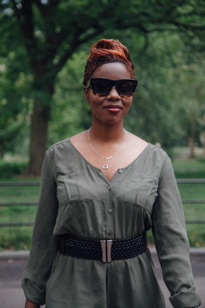 olive romper black belt summer fashion