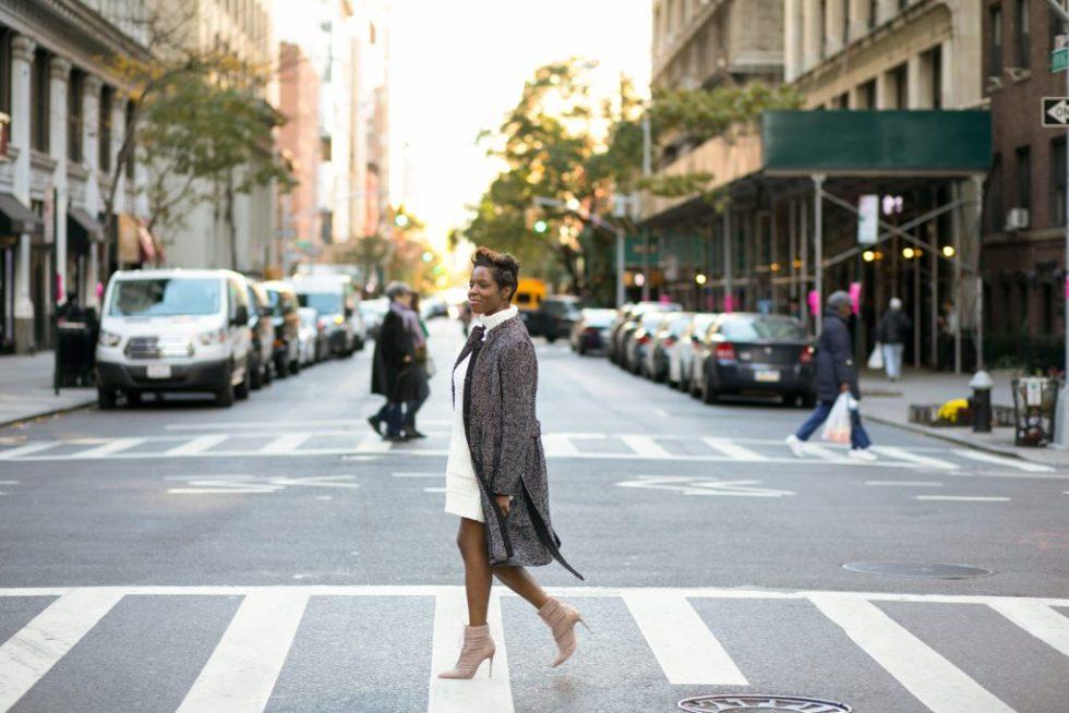 herringbone coat sweater dress ankle boots nyc fall fashion