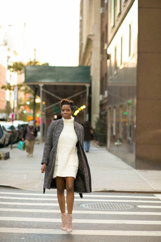 herringbone coat sweater dress ankle boots nyc fall fashion 2016