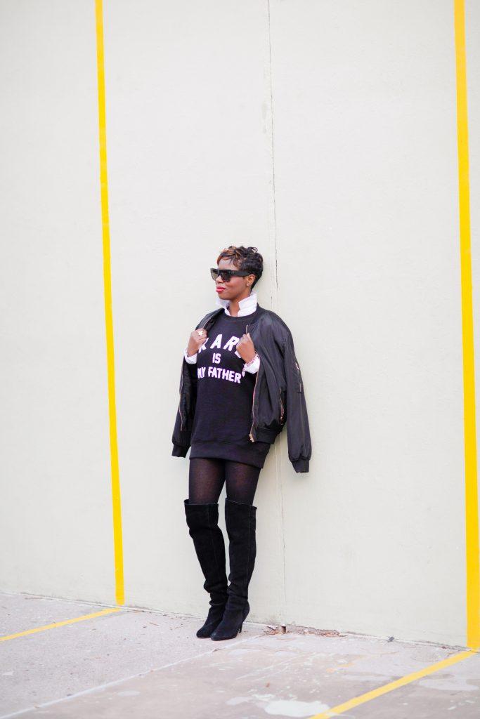 black bomber jacket white blouse black karl boyfriend sweatshirt black otk boots nyc fashion 2016