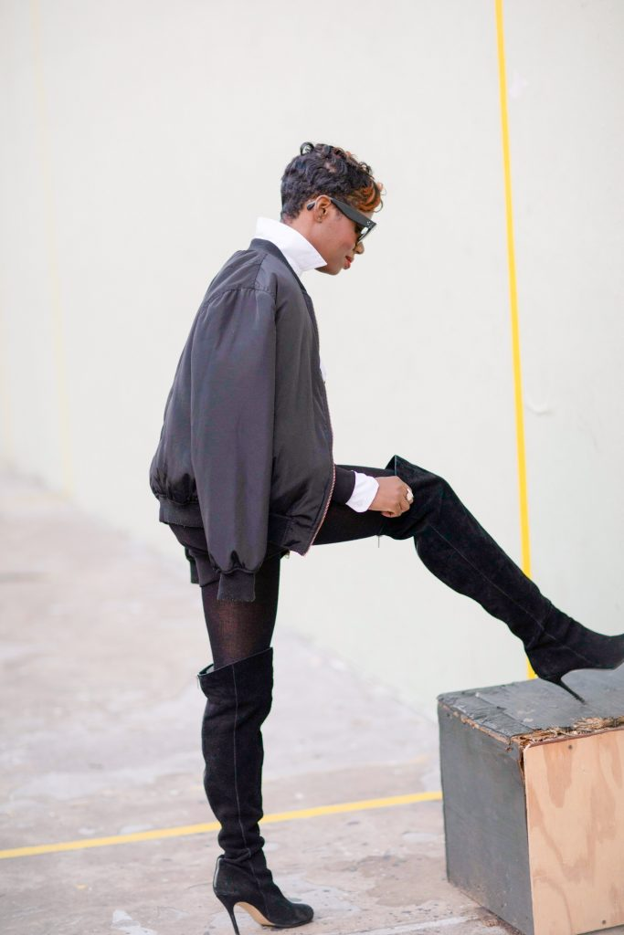black bomber jacket white blouse black karl boyfriend sweatshirt black otk boots nyc fashion 2016 right side view