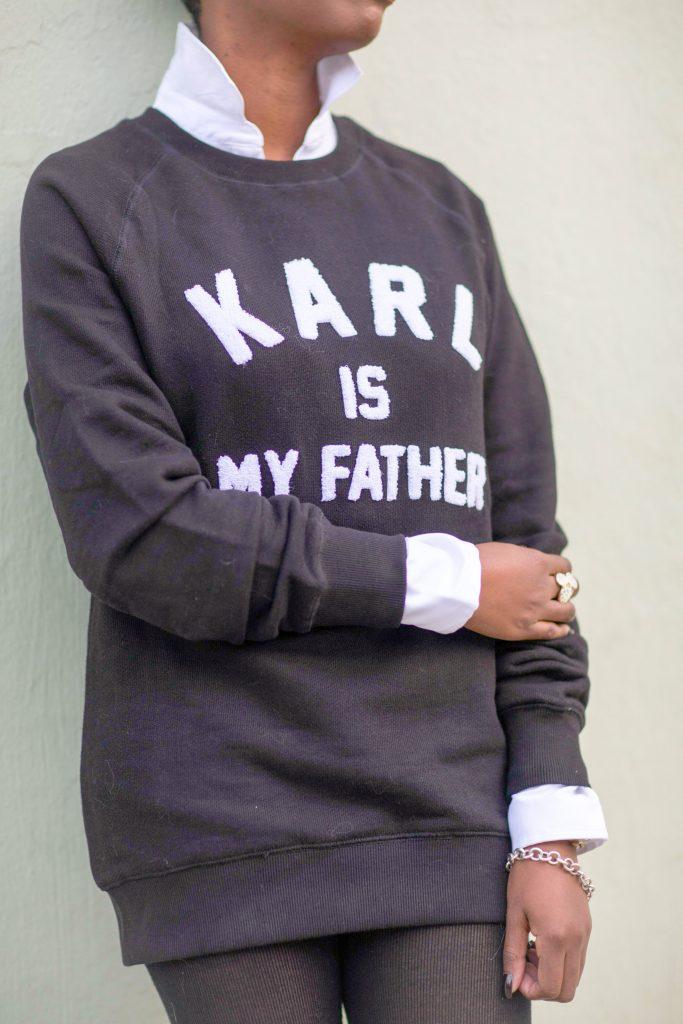 white blouse black karl boyfriend sweatshirt nyc fashion 2016