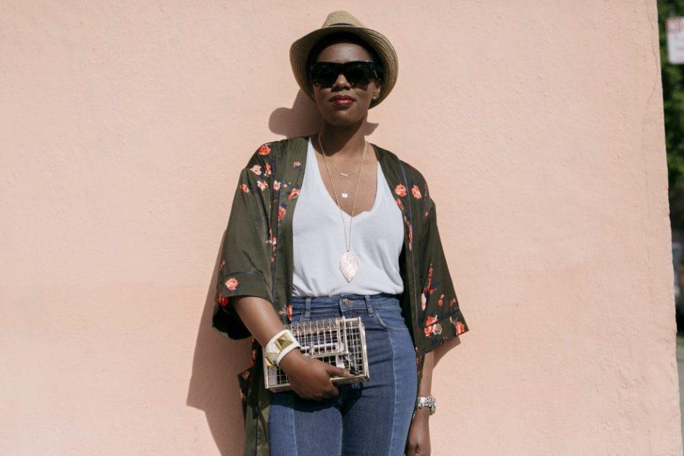 fedora green kimono white tshirt step hem jeans white shoes loafers gold clutch san francisco sf style fashion blog blogger