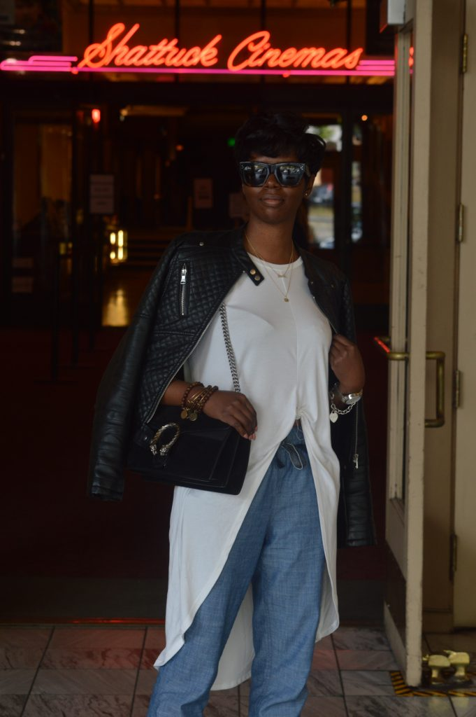 celine sunglasses ASTR nordstrom high low tie top marshalls faux leather jacket jcrew chambray joggers kurt geiger leopard pumps gucci dionysus black suede medium shoulder bag san francisco sf bay are style fashion blogger