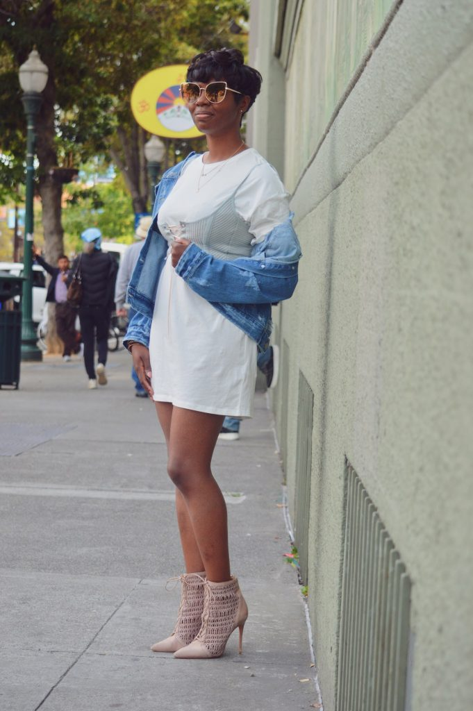 topshop t-shirt dress bp oversized denim jean jacket schutz ankle boots booties sunglass.la sunglasses sunnies sf San Francisco Bay Area fashion style blog blogger