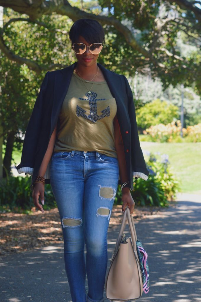 sunglass.la sunglasses j.crew Rhodes blazer navy j.crew anchor tee rag and bone distressed denim with suede patches asos white leather pumps Celine mini luggage handbag pebbled leather dune San Francisco Bay Area fashion style blog blogger
