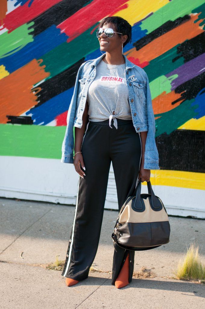 asked and answered american eagle denim jacket H&M original tie knot tank top fancy success track pants zara sock booties givenchy nightingale tote San Francisco sf Bay Area fashion style blog blogger