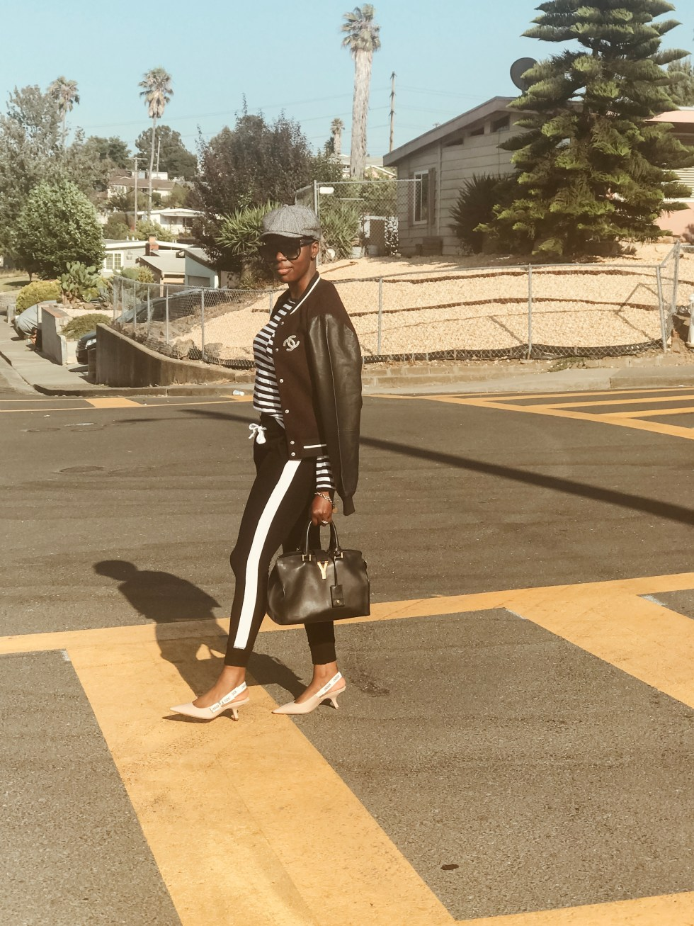 Cocoa Butter diaries CCB diaries Amber Richele top San Francisco fashion style blogger varsity jacket joggers Dior slingbacks ysl satchel invest in 2019