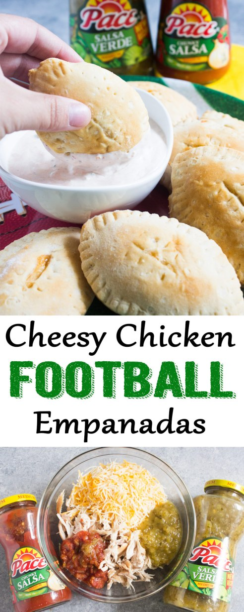 Cheesy Chicken Football Empanadas, Empanadas recipe, football recipe, game day recipe, game day, appetizer, football appetizer, pace salsa, chicken appetizer