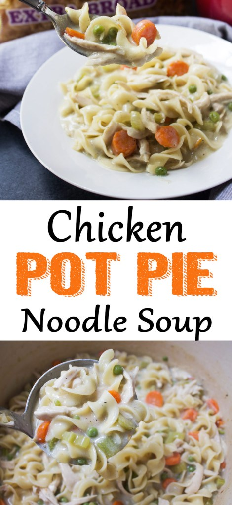 Chicken pot pie noodle soup is such a comforting meal for a dinner or perfect to pack for lunches too. The No Yolks noodles hold up really well in the soup and they don't get mushy or fall apart. I made this for dinner and packed some of the soup for my husband the next day and he said it was one of the best soups he's ever had!