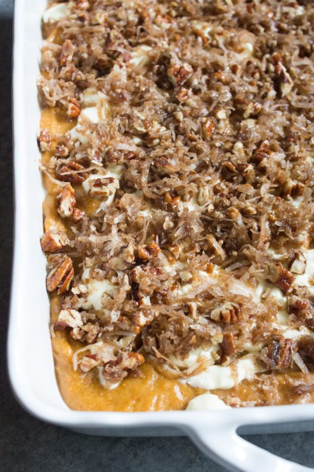 Pumpkin Cream Cheese Cake (With coconut, pecan topping)