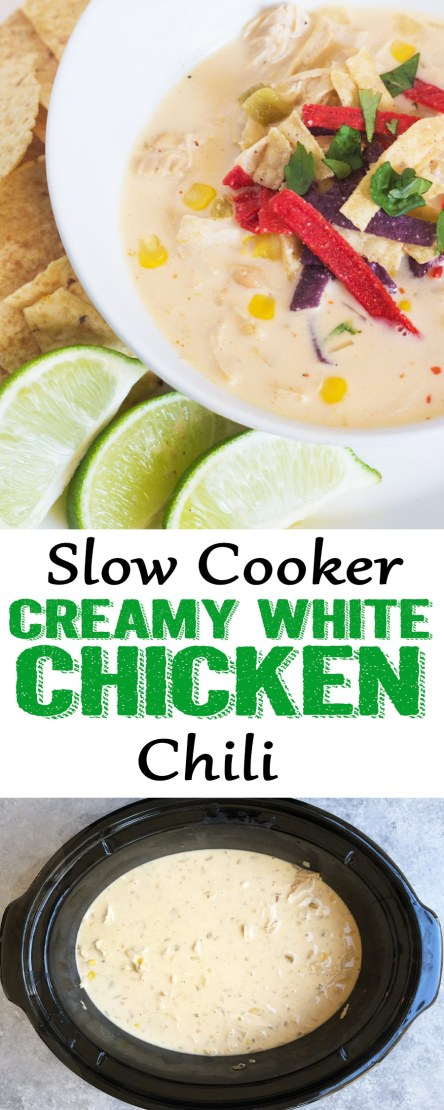 White chicken Chili, creamy white chicken chili, slow cooker chicken chili, crockpot white chicken chili,This Slow CookerWhite Chicken Chili is the stuff dinner dreams are made of! It has so much flavor, is easy to make, and the slow cooker does the work for you!
