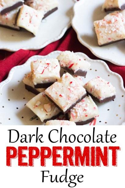 Dark chocolate peppermint fudge, peppermint fudge, easy fudge