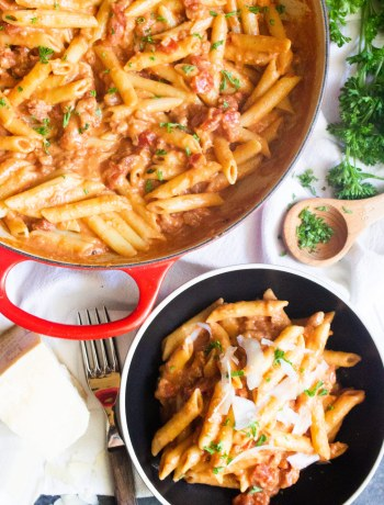 penne alla vodka with pancetta, penne alla vodka, vodka sauce, coco and ash, pasta,