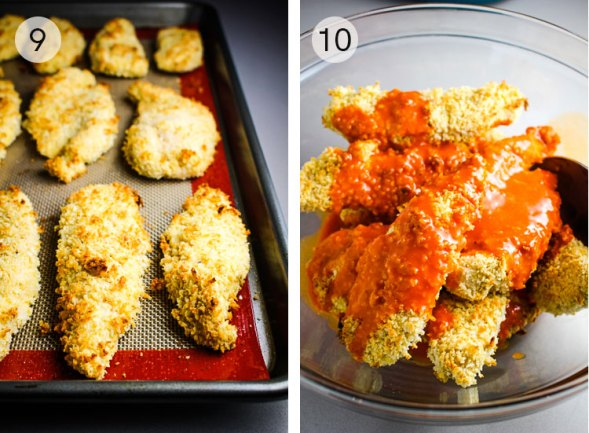 Crispy Baked Buffalo Chicken Tenders, buffalo wings, baked buffalo, chicken tenders, healthy appetizer