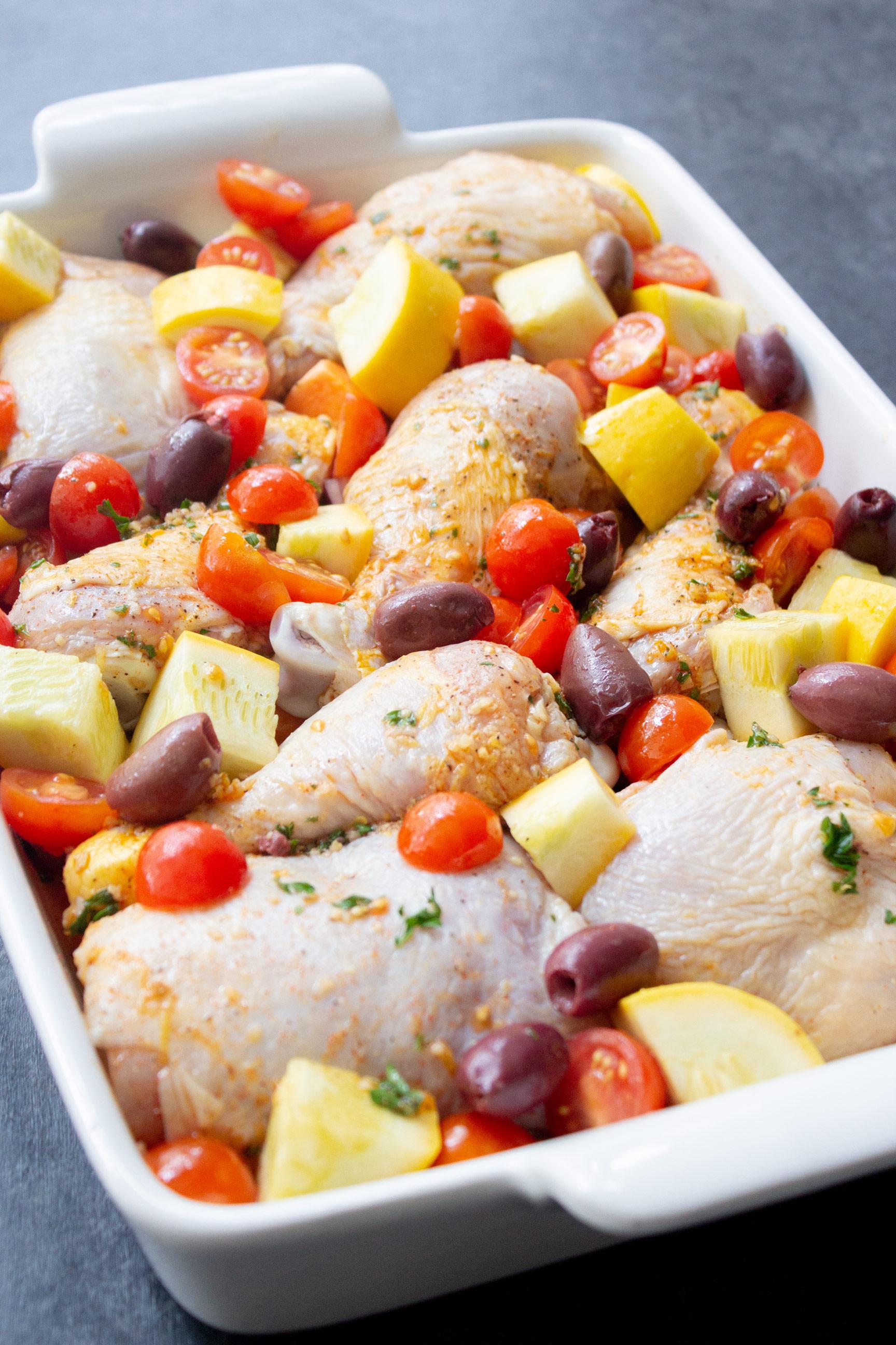 Mediterranean Chicken Bake, chicken dinner, baked chicken ...