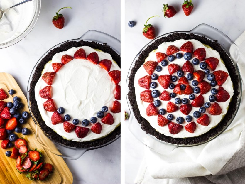 4th of July White Chocolate Cream Pie, red white and blue pie, strawberry and blueberry, dessert, pie,