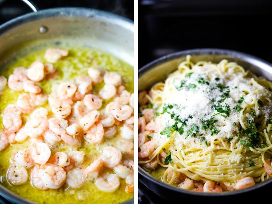 garlic butter shrimp pasta, pasta, noodles on fork, shrimp pasta, dinner, coco and ash