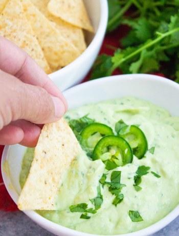 creamy avocado sauce, avocado salsa, dip, chip dipping, coco and ash, appetizer