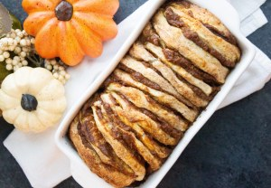 pumpkin pull apart bread with maple glaze, pull apart bread, pumpkin pull apart, maple glaze
