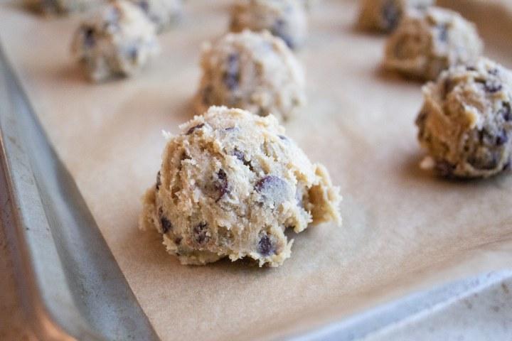 chocolate chip cookies, scooping cookies