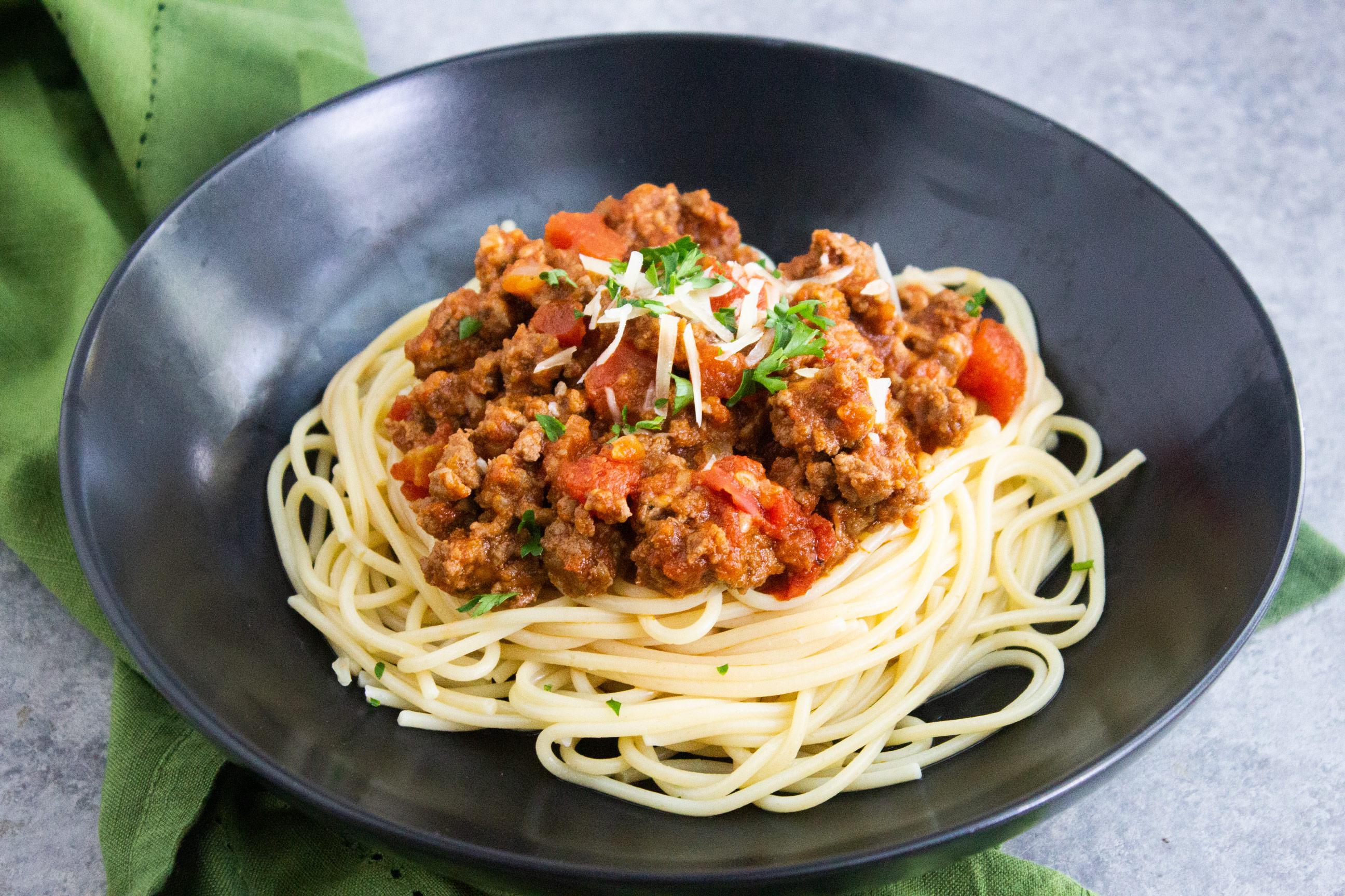 sauce on pasta