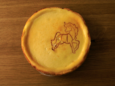 www.cocoandme.com - Coco&Me - Baked Cheese cake biscuit base recipe with making process pictures/ images - with embossed pattern of unicorn & squirrel