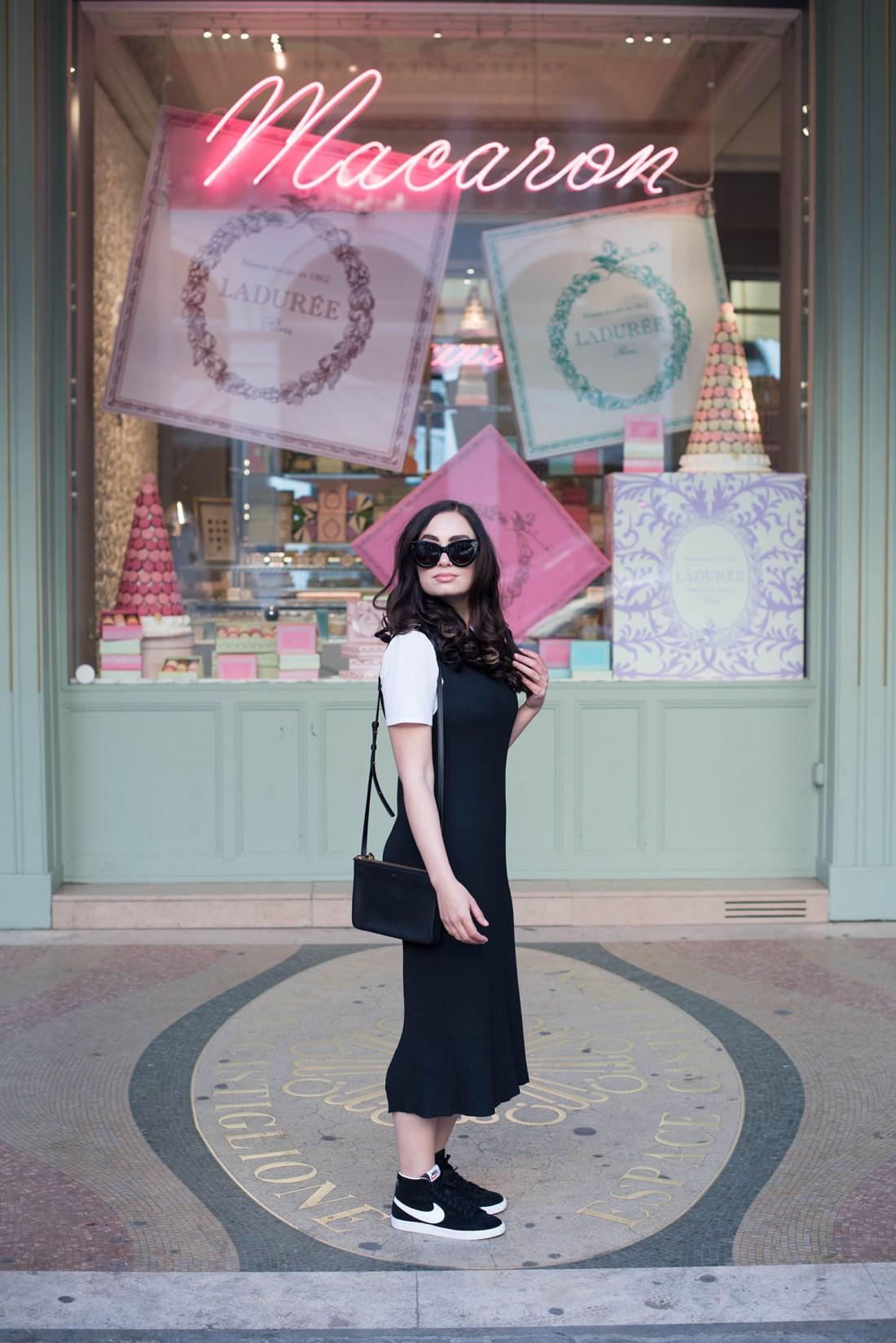 Photo of fashion blogger Cee Fardoe of Coco & Vera, wearing a Metisu dress and Celine trio bag at Laduree