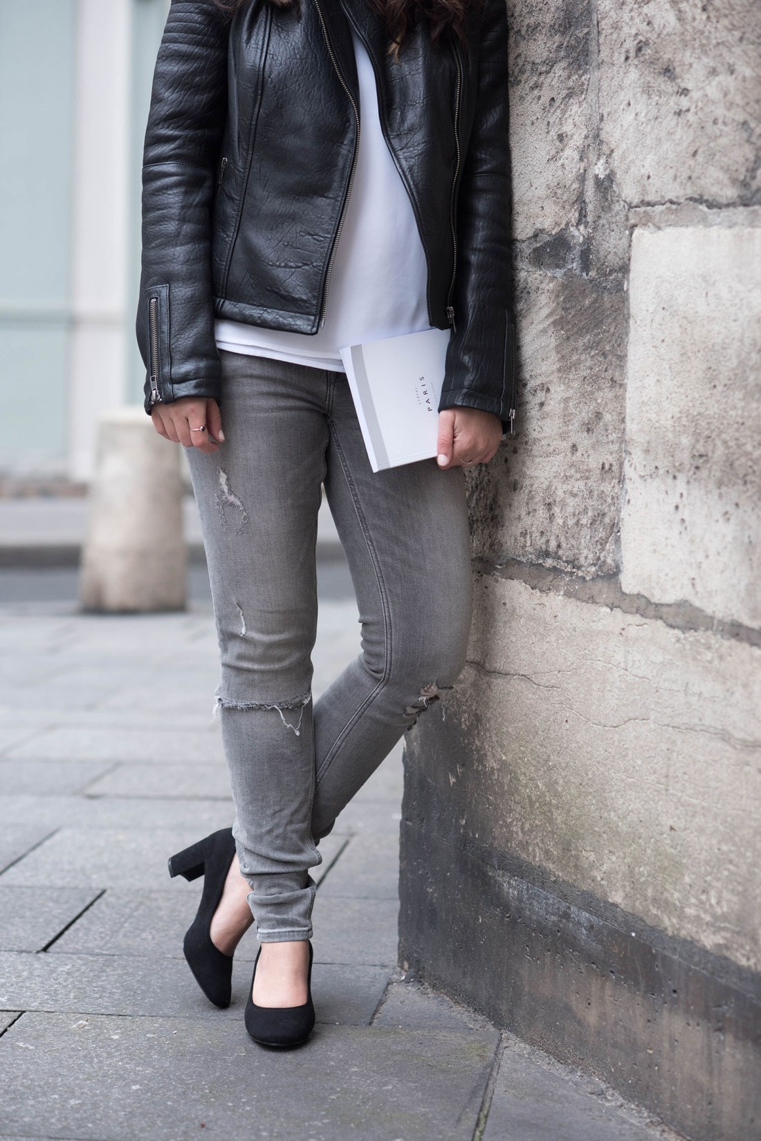 Details on lifestyle blogger Cee Fardoe of Coco & Vera, including H&M block heels and grey Zara jeans