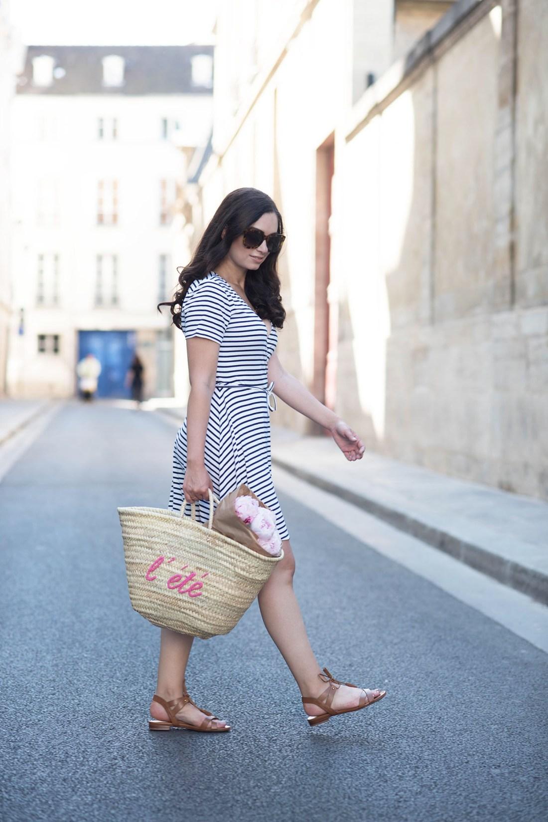 Style blogger Cee Fardoe of Coco & Vera walks in Paris wearing a striped Lovers + Friends dress