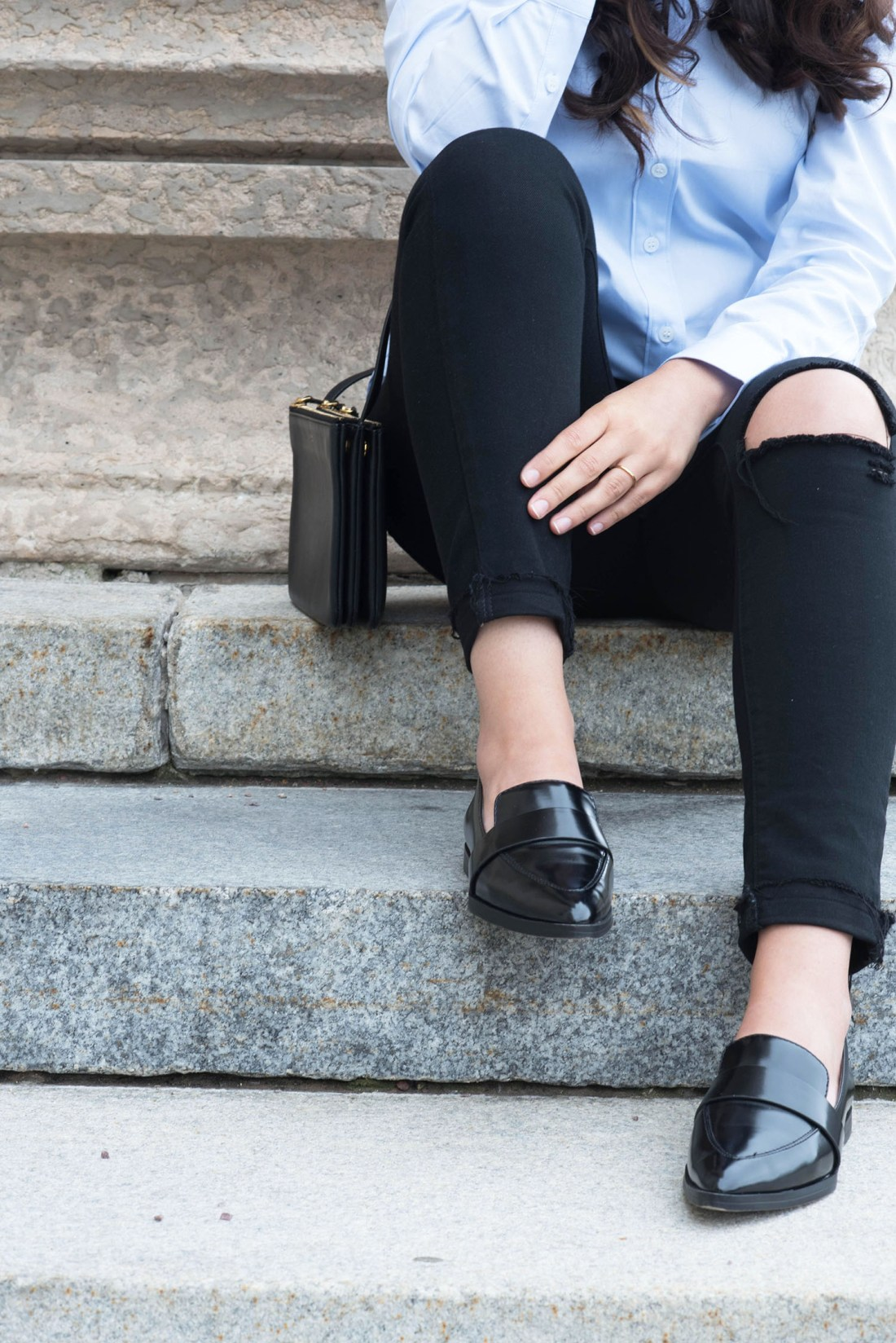Outfit details on fashion blogger Cee Fardoe of Coco & Vera, wearing Charles & Keith flats and a Celine trio bag