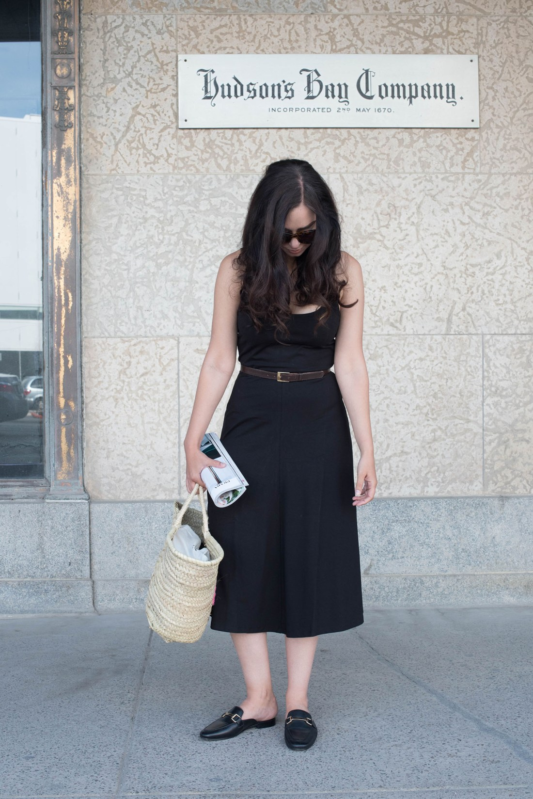 Summer outfit shown by fashion blogger Cee Fardoe of Coco & Vera, featuring a black Privacy Please midi dress and Sezane straw tote