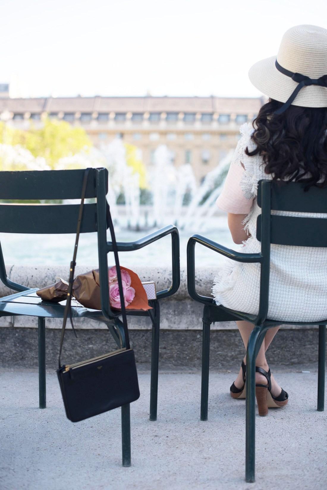 Outfit details on fashion blogger Cee Fardoe of Coco & Vera, including a Celine trio handbag and Floriane Fosso dress