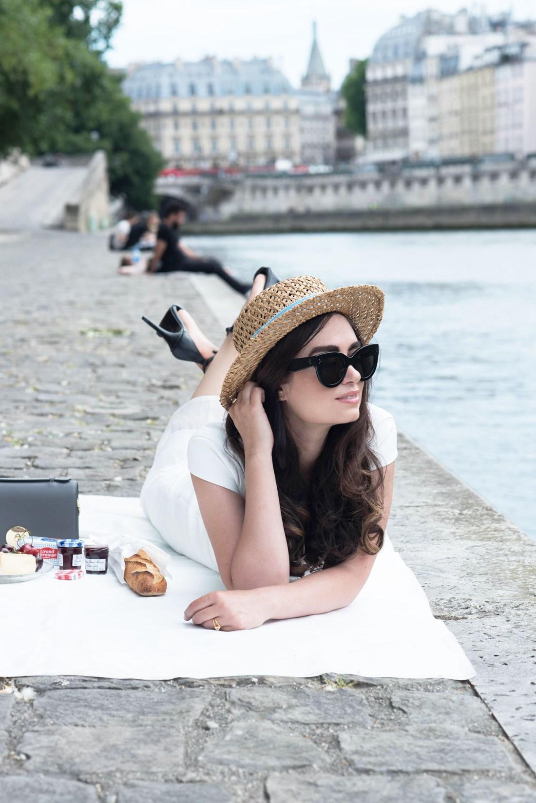 Fashion blogger Cee Fardoe of Coco & Vera celebrates Bastille Day with a picnic on the quais de la Seine wearing an Ivy & Oak dress