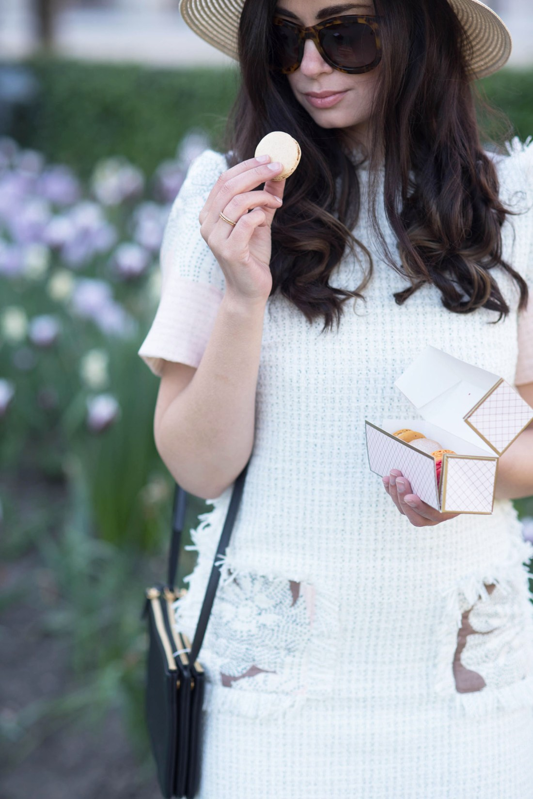 Winnipeg style blogger Cee Fardoe of Coco & Vera eats Cafe Pouchkine macarons in Paris wearing Anine Bing sunglasses and a Floriane Fosso dress