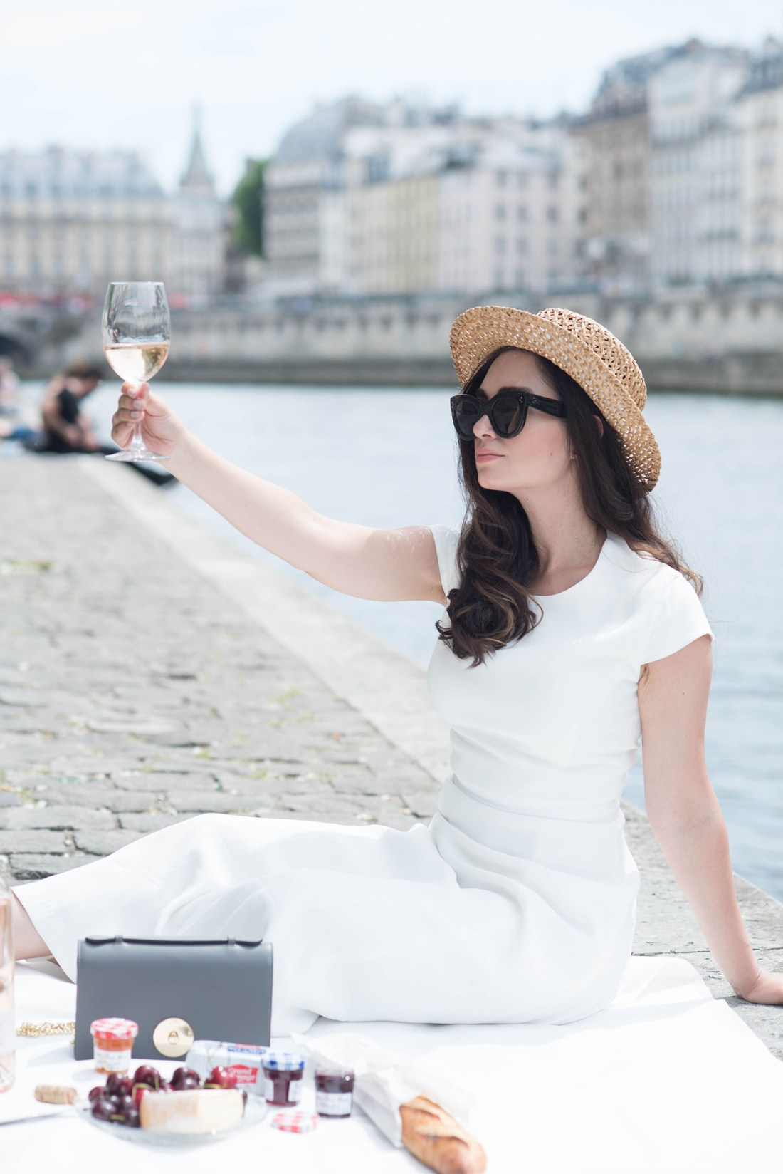 Fashion blogger Cee Fardoe of Coco & Vera celebrates Bastille day in Paris wearing a Krasnova Modiste hat and Ivy & Oak dress