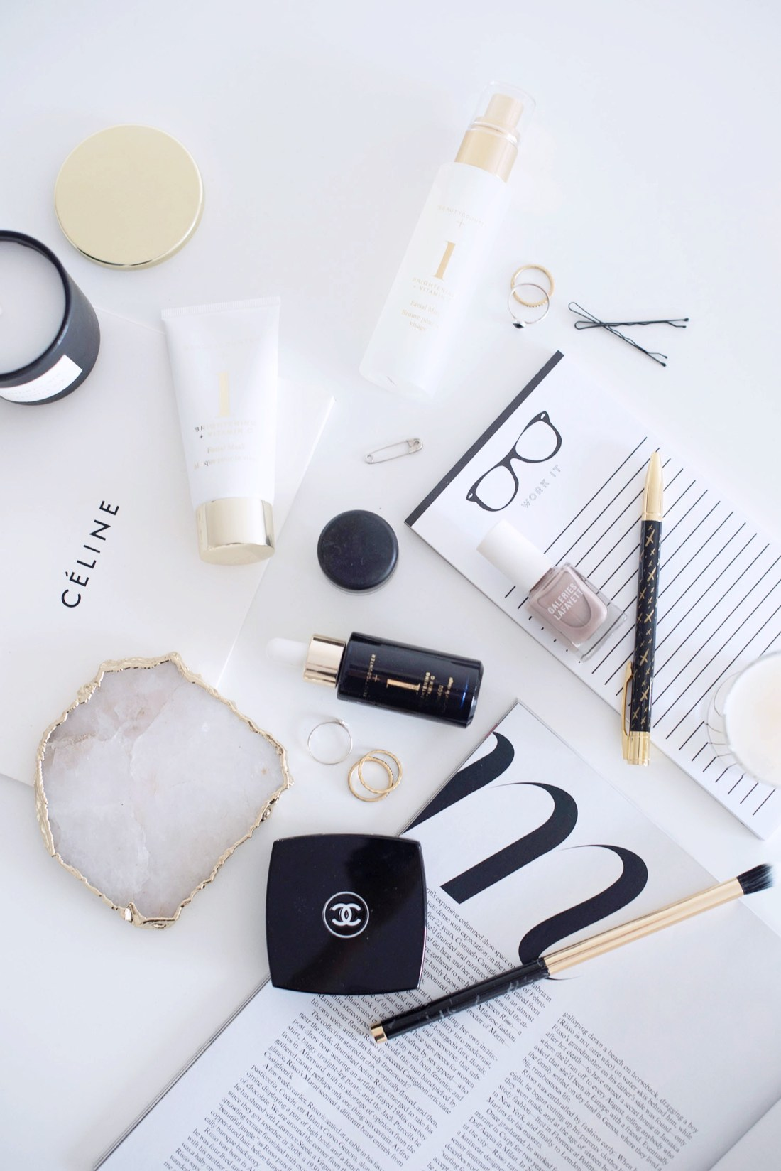 Flatlay featuring Beautycounter face oil, Beautycounter face mask and Chanel blush, captured by Winnipeg beauty blogger Cee Fardoe of Coco & Vera